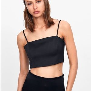 Zara Tops - Zara Black Satin Crop Top